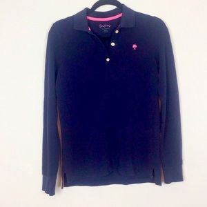 LILLY PULITZER SZ S LONG SLEEVE POLO BLUE …